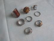кольца серебряные 8шт.